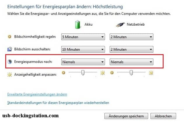 einstellungen Energie windows 7