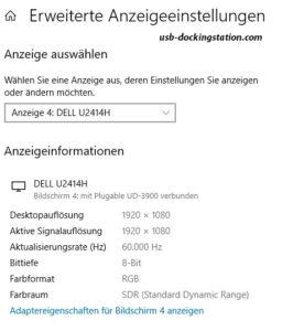 Erweiterte Anzeigeeigenschaften Windows 10