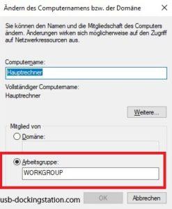 Ändern Arbeitsgruppe Windows 10