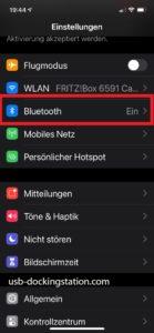 Einstellungen iPhone bluetooth